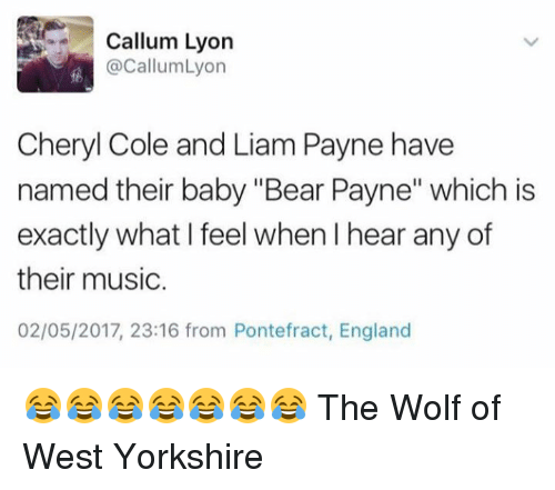 """baby bear: Callum Lyon  @CallumLyon  Cheryl Cole and Liam Payne have  named their baby """"Bear Payne"""" which is  exactly what I feel when l hear any of  their music.  02/05/2017, 23:16 from Pontefract, England 😂😂😂😂😂😂😂 The Wolf of West Yorkshire"""