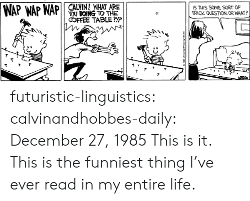 December 27: CALVIN! WHAT ARE  YOU DOING TO THE  IS THIS SOME SORT OF  TRICK QUESTION, OR WHAT?  WAP WAP WAP  COFFEE TABLE P/P  12-27  apuls d futuristic-linguistics:  calvinandhobbes-daily:  December 27, 1985  This is it. This is the funniest thing I've ever read in my entire life.
