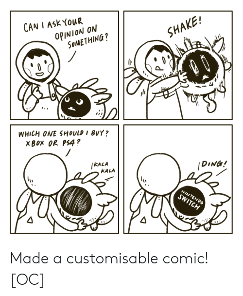 Ding: CAN I ASK YOUR  OPINION ON  SOMETHING?  SHAKE!  dШн  WHICH ONE SHOULD I BUY?  XBOX OR PS4?  IKALA  KALA  DING!  NINTENDO  SWITCH Made a customisable comic! [OC]