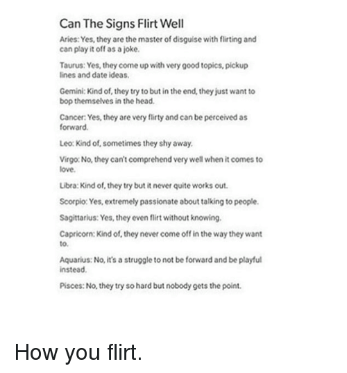 Can the Signs Flirt Well Aries Yes They Are the Master of