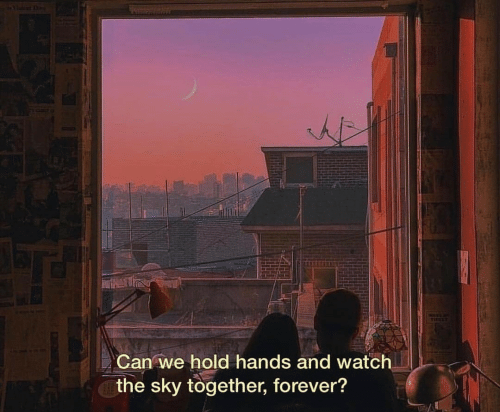 Forever, Watch, and Sky: Can we hold hands and watch  the sky together, forever?