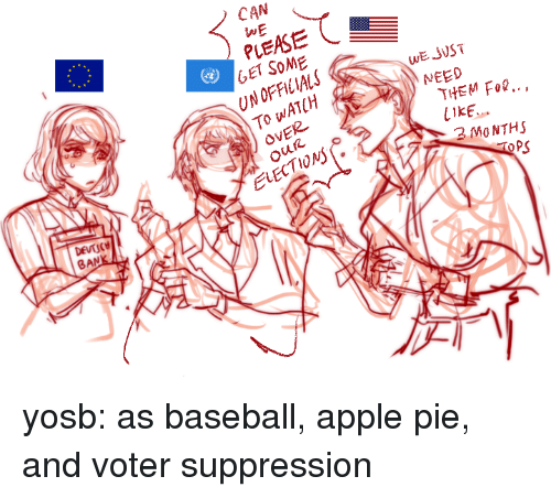 Apple, Baseball, and Target: CAN  WE  PLEASE  GET SOME  UN OFFICIALS  To WATCH  OVER  WE JVST  NEED  THEM Fo..,  LIKE  2 MO NTHS  2  ELECTIONs  PS  BAN yosb:  as baseball, apple pie, and voter suppression