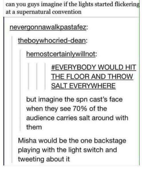 light switch: can you guys imagine if the lights started flickering  at a supernatural convention  nevergonnawalkpastafez:  theboywhocried-dean:  hemostcertainlywillnot  EVERYBODY WOULD HIT  THE FLOOR AND THROW  SALT EVERYWHERE  but imagine the spn cast's face  when they see 70% of the  audience carries salt around with  them  Misha would be the one backstage  playing with the light switch and  tweeting about it