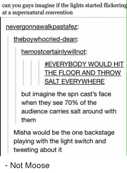 light switch: can you guys imagine if the lights started flickering  at a supernatural convention  nevergonnawalkpastafez:  theboywhocried-dean:  hemostcertainlywilnot:  #EVERYBODY WOULD HIT  THE FLOOR AND THROW  SALT EVERYWHERE  but imagine the spn cast's face  when they see 70% of the  audience carries salt around with  them  Misha would be the one backstage  playing with the light switch and  tweeting about it - Not Moose