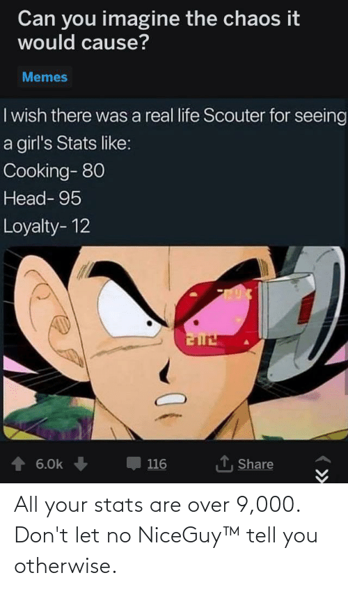 Girls, Head, and Life: Can you imagine the chaos it  would cause?  Memes  I wish there was a real life Scouter for seeing  a girl's Stats like:  Cooking- 80  Head- 95  Loyalty- 12  1, Share  6.0k  116 All your stats are over 9,000. Don't let no NiceGuy™ tell you otherwise.