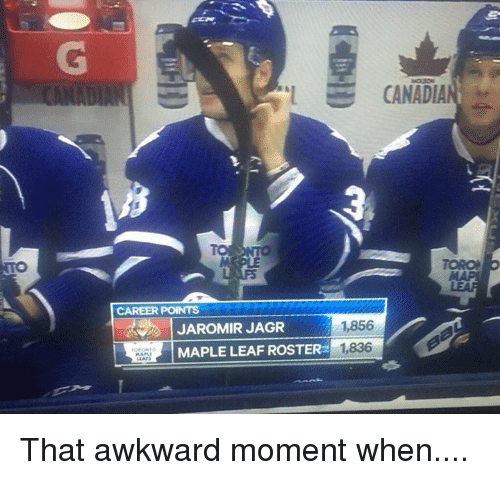 Hockey, Awkward, and That Awkward Moment: CANAD  CAREER POINTS  1856  JAROMIR JAGR  MAPLE LEAF ROSTER  1836 That awkward moment when....