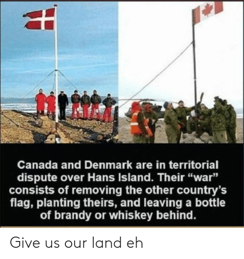 """Denmark: Canada and Denmark are in territorial  dispute over Hans Island. Their """"war""""  consists of removing the other country's  flag, planting theirs, and leaving a bottle  of brandy or whiskey behind. Give us our land eh"""