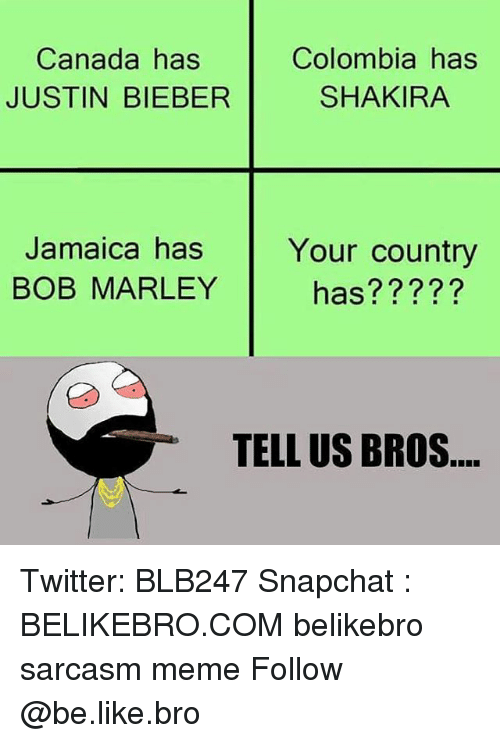 Be Like, Bob Marley, and Justin Bieber: Canada has  JUSTIN BIEBER  Colombia has  SHAKIRA  Jamaica has  BOB MARLEY  Your country  has?????  TELL US BROS Twitter: BLB247 Snapchat : BELIKEBRO.COM belikebro sarcasm meme Follow @be.like.bro