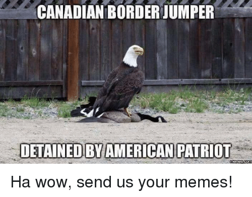 Americanness: CANADIAN BORDERJUMPER  DETAINED BY AMERICAN PATRIOT  COM Ha wow, send us your memes!