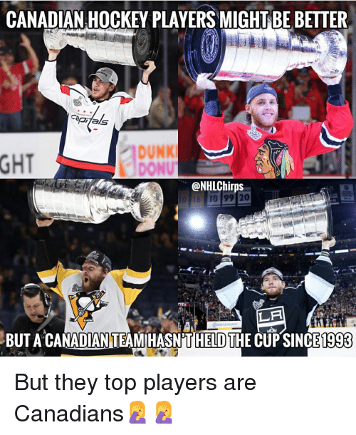 Dunk, Hockey, and Memes: CANADIAN HOCKEY PLAYERS MIGHT BE BETTER  diTals  GHT  DUNK  DONU  @NHLChirps  LA  THE CUP SINCE  BUT A CANADIAN TEAM HASN'T  HELD  1993 But they top players are Canadians🤦♀️🤦♀️