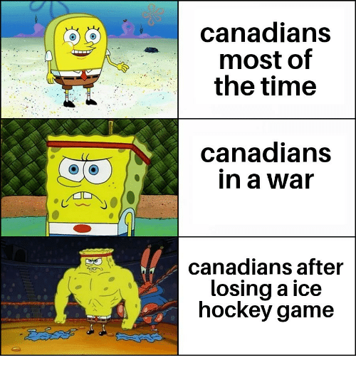 Hockey, Game, and Time: canadians  most of  the time  canadians  in a war  canadians after  losing a ice  hockey game