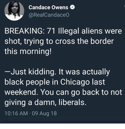 Chicago, Memes, and Aliens: Candace Owens  @RealCandaceO  BREAKING: 71 Illegal aliens were  shot, trying to cross the border  this morning!  Just kidding. It was actually  black people in Chicago last  weekend. You can go back to not  giving a damn, liberals  10:16 AM 09 Aug 18