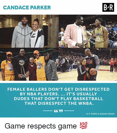 Espns: CANDACE PARKER  B-R  ESTERN  LSTAR  Cn  FEMALE BALLERS DON'T GET DISRESPECTED  BY NBA PLAYERS. IT'S USUALLY  DUDES THAT DON'T PLAY BASKETBALL  THAT DISRESPECT THE WNBA  66 99  HIT ESPN'S SARAH SPAIN Game respects game 💯