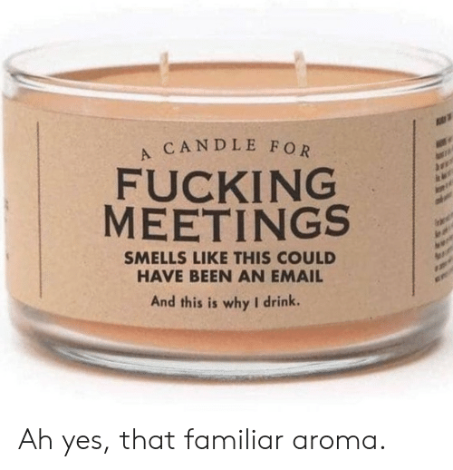Smells Like: CANDLE FOR  FUCKING  MEETINGS  SMELLS LIKE THIS COULD  HAVE BEEN AN EMAIL  And this is why I drink. Ah yes, that familiar aroma.