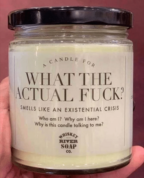 Smells Like: CANDLE FOR  WHAT THE  ACTUAL FUCK  SMELLS LIKE AN EXISTENTIAL CRISIS  Who am 1? Why am I here?  Why is this candle talking to me?  WHISKET  RIVER  SOAP  cO.