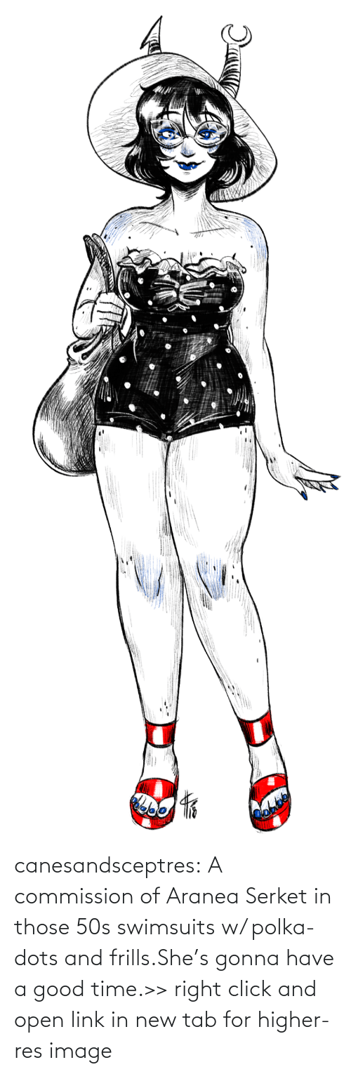open: canesandsceptres:  A commission of Aranea Serket in those 50s swimsuits w/ polka-dots and frills.She's gonna have a good time.>> right click and open link in new tab for higher-res image
