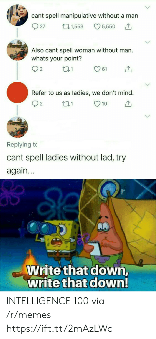 Memes, 10 2, and Mind: cant spell manipulative without a man  27  5,550  t21,553  Also cant spell woman without man.  whats your point?  2  61  Refer to us as ladies, we don't mind.  t.1  10  2  Replying to  cant spell ladies without lad, try  again...  Write that down,  write that down! INTELLIGENCE 100 via /r/memes https://ift.tt/2mAzLWc