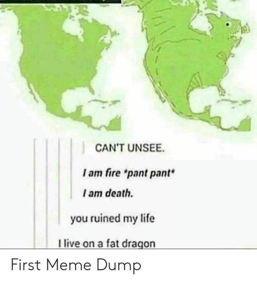 "Pant: CAN'T UNSEE  I am fire ""pant pant*  I am death.  you ruined my life  live on a fat dragon First Meme Dump"