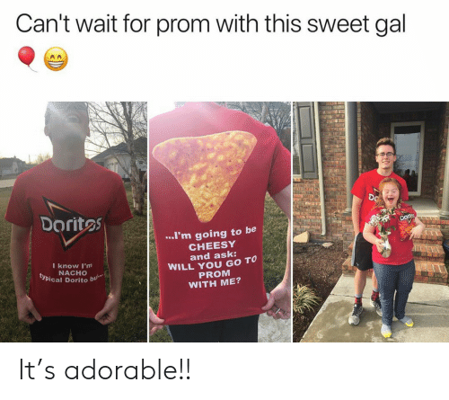 typical: Can't wait for prom with this sweet gal  DO  Doritos  ..I'm going to be  CHEESY  and ask:  WILL YOU GO TO  PROM  WITH ME?  I know I'm  NACHO  typical Dorito  bu It's adorable!!