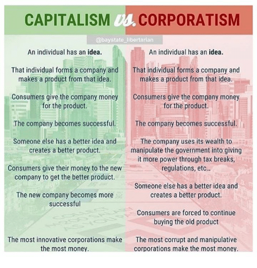 Memes, Money, and Capitalism: CAPITALISM Us CORPORATISM  @baystate libertarian  An individual has an idea.  An individual has an idea.  That individual forms a company and  makes a product from that idea.  That individual forms a company and  makes a product from that idea.  Consumers give the company money  Consumers give the company money  for the product.  for the product.  The company becomes successful  Someone else has a better idea and  The company becomes successful  The company uses its wealth to  manipulate the government into giving  it more power through tax breaks  regulations, etc..  creates a better product.  Consumers give their money to the new  company to get the better product.  Someone else has a better idea and  creates a better product.  The new company becomes more  successful  Consumers are forced to continue  buying the old product  The most innovative corporations make  the most money.  The most corrupt and manipulative  corporations make the most money.