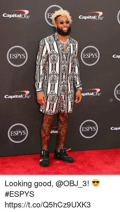 Memes, Good, and 🤖: CapitalOne  CapitalOne  THE  ESPYS  ESPYS  Cap  apitalOne  CapitalOne  ESPYS  Cap  ital  ESPYS Looking good, @OBJ_3! 😎  #ESPYS https://t.co/Q5hCz9UXK3