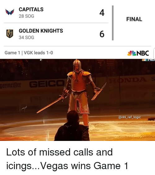 Logic, Memes, and National Hockey League (NHL): CAPITALS  28 SOG  4  FINAL  GOLDEN KNIGHTS  34 SOG  6  Game 1 VGK leads 1-0  @nhl_ref_logic Lots of missed calls and icings...Vegas wins Game 1