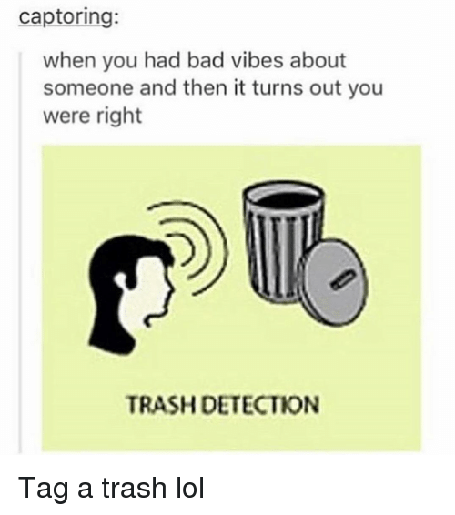 Bad, Funny, and Lol: captoring:  when you had bad vibes about  someone and then it turns out you  were right  TRASH DETECTION Tag a trash lol
