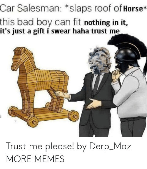 derp: Car Salesman: *slaps roof of Horse*  this bad boy can fit nothing in it,  it's just a gift i swear haha trust me Trust me please! by Derp_Maz MORE MEMES