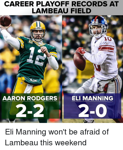 Aaron Rodgers, Eli Manning, and Memes: CAREER PLAYOFF RECORDS AT  LAMBEAU FIELD  AARON RODGERS  ELI MANNING  2-2  2-0 Eli Manning won't be afraid of Lambeau this weekend