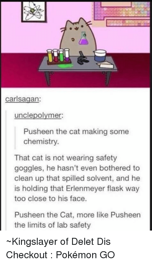 Pusheens: carlsagan:  uncle polymer:  Pusheen the cat making some  chemistry.  That cat is not wearing safety  goggles, he hasn't even bothered to  clean up that spilled solvent, and he  is holding that Erlenmeyer flask way  too close to his face.  Pusheen the Cat, more like Pusheen  the limits of lab safety ~Kingslayer of Delet Dis  Checkout : Pokémon GO