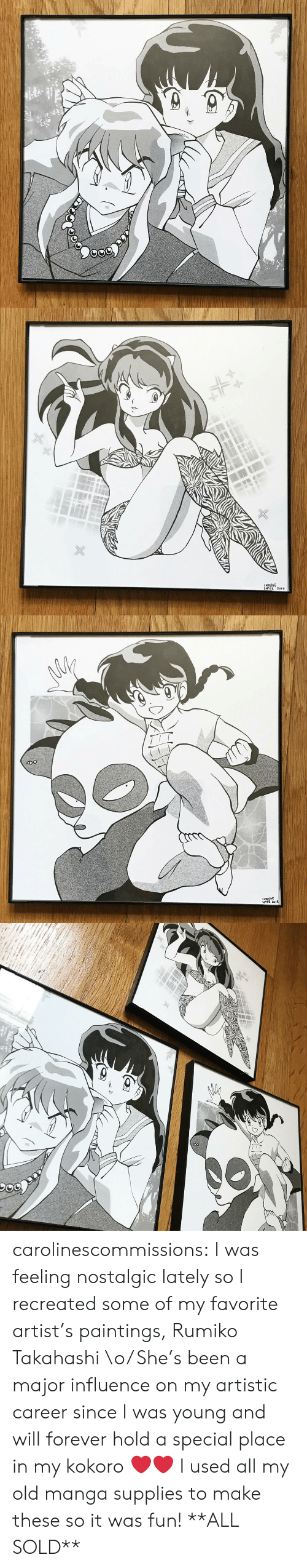 influence: CAROLINE  LoPE2 201 carolinescommissions: I was feeling nostalgic lately so I recreated some  of my favorite artist's paintings, Rumiko Takahashi \o/ She's been a  major influence on my artistic career since I was young and will forever  hold a special place in my kokoro ❤️❤️ I used all my old manga supplies to make these so it was fun! **ALL SOLD**