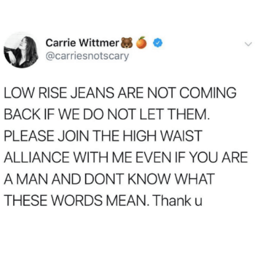 Mean, Back, and Carrie: Carrie Wittmer e  @carriesnotscary  LOW RISE JEANS ARE NOT COMING  BACK IF WE DO NOT LET THEM  PLEASE JOIN THE HIGH WAIST  ALLIANCE WITH ME EVEN IF YOU ARE  A MAN AND DONT KNOW WHAT  THESE WORDS MEAN. Thank u