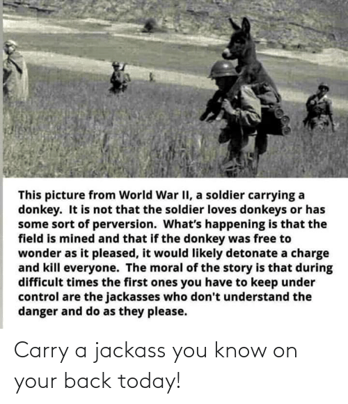 Today: Carry a jackass you know on your back today!