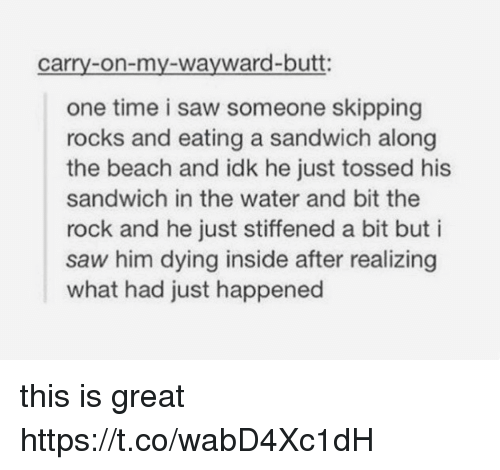 Butt, Memes, and Saw: carry-on-my-wayward-butt:  one time i saw someone skipping  rocks and eating a sandwich along  the beach and idk he just tossed his  sandwich in the water and bit the  rock and he just stiffened a bit but i  saw him dying inside after realizing  what had just happened this is great https://t.co/wabD4Xc1dH
