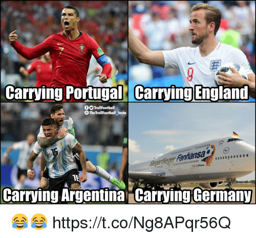 England, Memes, and Argentina: Carrying Portugal Carrying England  OSTrollFootball  TheTrollFootball Insta  Stegerfleger Fanhansa  01000000000800  Lufthansa  Carrying Argentina Carrying Germany 😂😂 https://t.co/Ng8APqr56Q
