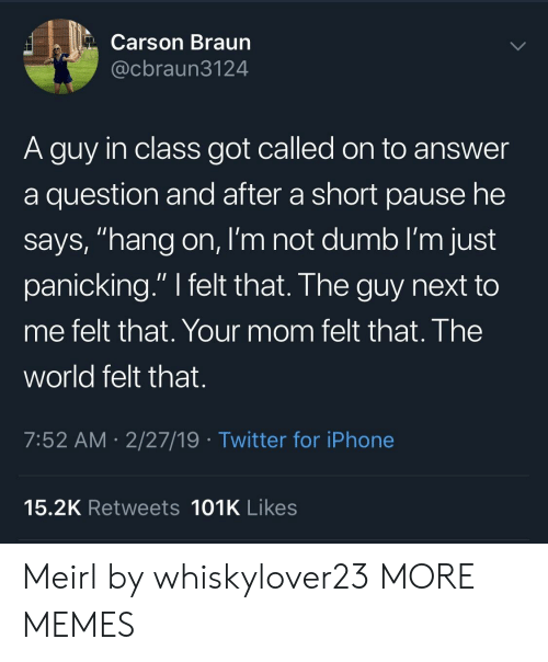 """Dank, Dumb, and Iphone: Carson Braun  @cbraun3124  A guy in class got called on to answer  a question and after a short pause he  says, """"hang on, I'm not dumb I'm just  panicking."""" I felt that. The guy next to  me felt that. Your mom felt that. The  world felt that.  7:52 AM- 2/27/19 Twitter for iPhone  15.2K Retweets 101K Likes Meirl by whiskylover23 MORE MEMES"""