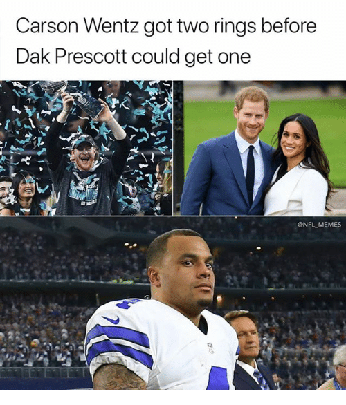 Memes, Nfl, and 🤖: Carson Wentz got two rings before  Dak Prescott could get one  AI  @NFL MEMES