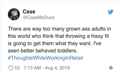 Hissy: Case  @CaseMcDuck  There are way too many grown ass adults in  this world who think that throwing a hissy fit  is going to get them what they want. I've  seen better behaved toddlers.  #ThoughtsWhileWorkinglnRetail  53 7:13 AM - Aug 4, 2019