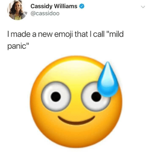 "panic: Cassidy Williams  @cassidoo  Imade a new emoji that I call ""mild  panic"""