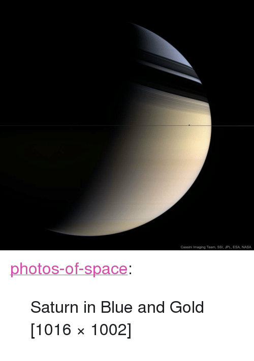 "cassini: Cassini Imaging Team, SSI, JPL, ESA, NASA <p><a href=""https://photos-of-space.tumblr.com/post/164743834023/saturn-in-blue-and-gold-1016-1002"" class=""tumblr_blog"">photos-of-space</a>:</p>  <blockquote><p>Saturn in Blue and Gold [1016 × 1002]</p></blockquote>"
