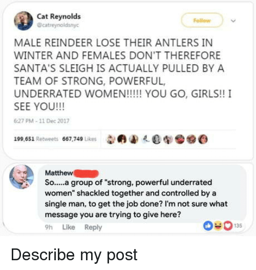"""Get The Job: Cat Reynolds  catreynoldsnyc  Follow  MALE REINDEER LOSE THEIR ANTLERS IN  WINTER AND FEMALES DON'T THEREFORE  SANTA'S SLEIGH IS ACTUALLY PULLED BY A  TEAM OF STRONG, POWERFUL,  SEE YOU!!!  6:27 PM-11 Dec 2017  199,651 Retweets 667,749 Likes 009e  Matthew  So....a underrated  women"""" shackled together and controlled by a  single man, to get the job done? I'm not sure what  message you are trying to give here?  9h Like Reply  group of """"strong. powerful  0-013 Describe my post"""