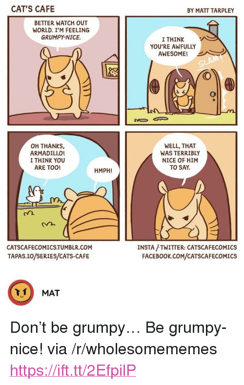"""tapas: CAT'S CAFE  BY MATT TARPLEY  BETTER WATCH OUT  WORLD. I'M FEELING  GRUMPY-NICE.  I THINK  YOU'RE AWFULLY  AWESOME!  OH THANKS,  ARMADILLO!  I THINK YOU  ARE TOO!  WELL, THAT  WAS TERRIBLY  NICE OF HIM  TO SAY.  HMPH!  CATSCAFECOMICS.TUMBLR.COM  TAPAS.IO/SERIES/CATS-CAFE  INSTA /TWITTER: CATSCAFECOMICS  FACEBOOK.cCOM/CATSCAFECOMICS <p>Don't be grumpy&hellip; Be grumpy-nice! via /r/wholesomememes <a href=""""https://ift.tt/2EfpilP"""">https://ift.tt/2EfpilP</a></p>"""