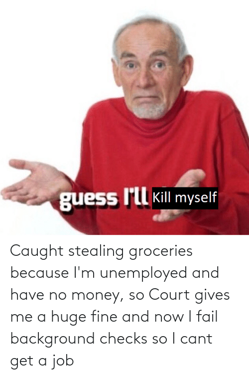 No Money: Caught stealing groceries because I'm unemployed and have no money, so Court gives me a huge fine and now I fail background checks so I cant get a job