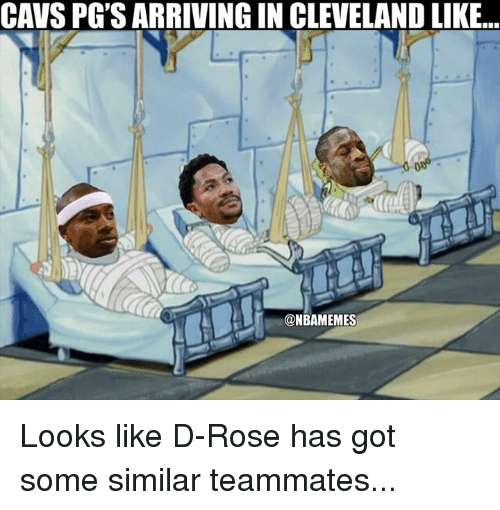 Cavs, Nba, and Cleveland: CAVS PG'S ARRIVING IN CLEVELAND LIKE..  @NBAMEMES Looks like D-Rose has got some similar teammates...
