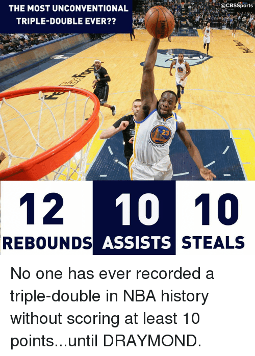 rebounder: @CBSSports  THE MOST UNCONVENTIONAL  TRIPLE-DOUBLE EVER??  12 10 10  REBOUNDS  ASSISTS  STEALS No one has ever recorded a triple-double in NBA history without scoring at least 10 points...until DRAYMOND.