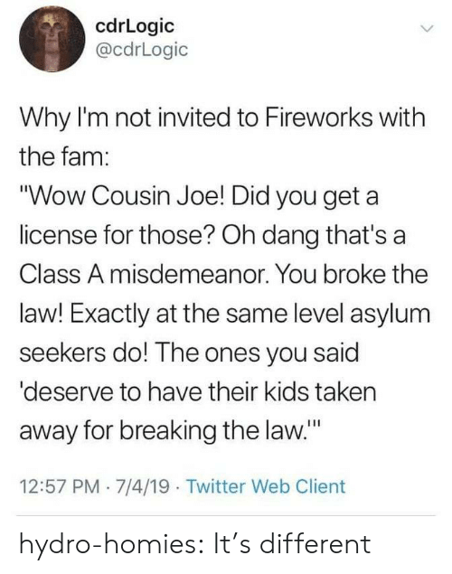 "fam: cdrLogic  @cdrLogic  Why I'm not invited to Fireworks with  the fam:  ""Wow Cousin Joe! Did you get a  license for those? Oh dang that's a  Class A misdemeanor. You broke the  law! Exactly at the same level asylum  seekers do! The ones you said  'deserve to have their kids taken  away for breaking the law.""  12:57 PM 7/4/19 Twitter Web Client hydro-homies: It's different"