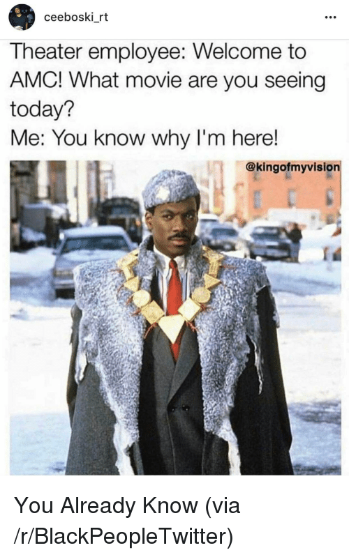 amc: ceeboski rt  Theater employee: Welcome to  AMC! What movie are you seeing  today?  Me: You know why I'm here!  @kingofmyvision <p>You Already Know (via /r/BlackPeopleTwitter)</p>