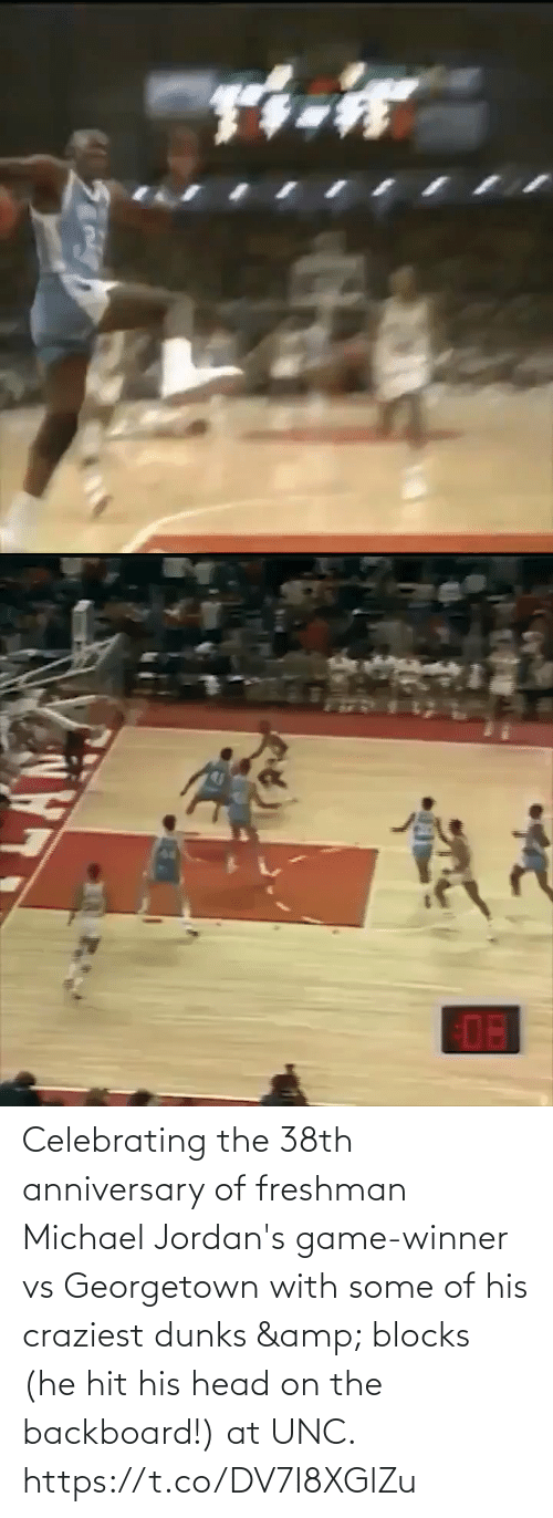 Of His: Celebrating the 38th anniversary of freshman Michael Jordan's game-winner vs Georgetown with some of his craziest dunks & blocks (he hit his head on the backboard!) at UNC. https://t.co/DV7I8XGlZu