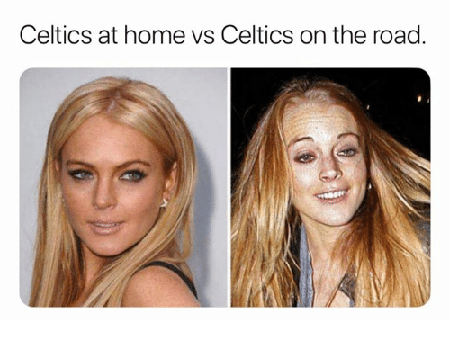 Celtics, Home, and On the Road: Celtics at home vs Celtics on the road.