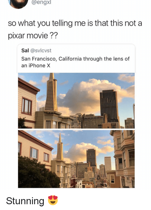 Iphone, Memes, and Pixar: Cengx  so what you telling me is that this not a  pixar movie??  Sal @svlcvst  San Francisco, California through the lens of  an iPhone X Stunning 😍